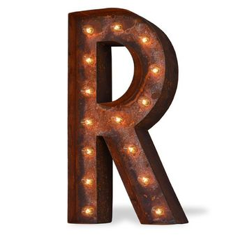"24"" Letter R Lighted Vintage Marquee Letters (Modern Font/Rustic)"
