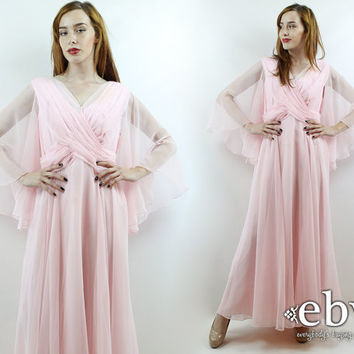 Vintage 70s Pink Sheer Angel Sleeve Maxi Dress L XL Pink Dress Pink Prom Dress Angel Sleeve Dress Hippie Dress Hippy Dress Party Dress