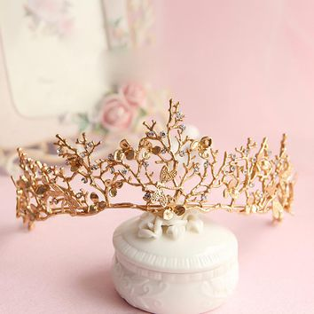 2017 Baroque crown gold leaf tairas dragonfly bridal hair accessories Princess Bridal crowns headdress women ornaments gift