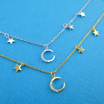 Minimal Rhinestone Crescent Moon and Tiny Dangling Stars Shaped a9f0790e00