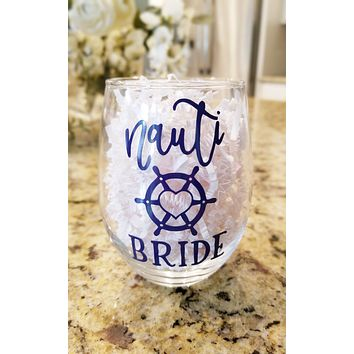 Nauti Bride Stemless Wine Glass