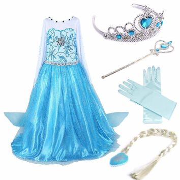 4Pcs Elsa Frozen Princess Costume Cosplay Girls Kids Crown Wand Braid Wig Gloves