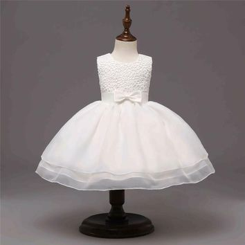 Lace Solid Baby Girl Dress Ball Gown Toddler Children's Wedding And Birthday Party Clothes For 6-24 Months Little Girl Baptism