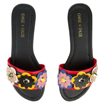 Women's Joy-1 Black with Flowers Sandals