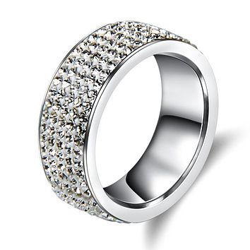 Crystal Stainless Steel Ring Men