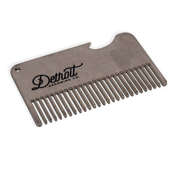 STAINLESS STEEL CREDIT CARD COMB WITH BOTTLE OPENER