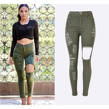 SUNSPA hole ripped jeans women Army green denim jeans for girl High waist Jeans skinny casual pants female  summer New