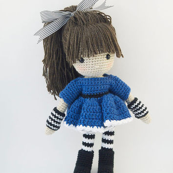 Amigurumi crochet doll - Cool little girl with blue dress with funky black and white striped leggings and arm bands