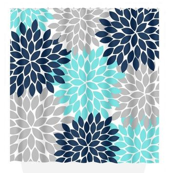 Aqua Navy Gray SHOWER CURTAIN, Flower Bathroom, Custom MONOGRAM Personalized, Floral Bathroom Decor, Add on Bath Towel, Bath Mat