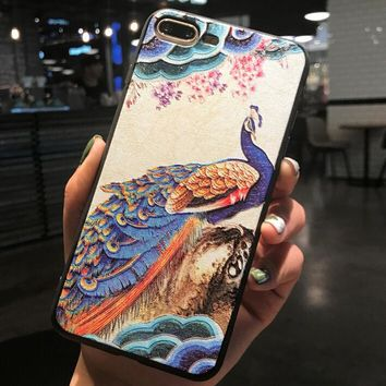Peacock Bird Pattern Case for iPhone X 8 7 6S Plus &Gift Box