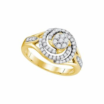 10kt Yellow Gold Women's Round Diamond Flower Cluster Swirl Ring 1-2 Cttw - FREE Shipping (USA/CAN)