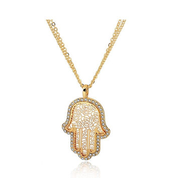 18K Gold Crystal Necklaces For Women Fatima Evil Eye Hand Pendants