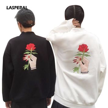 LASPERAL 2017 New Autumn Harajuku Kawaii Girl Flowers Embroidered Turtleneck Hoodies Couple Loose Bat Sleeve Sweatshirt Pullover