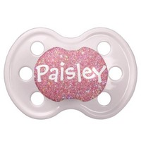 """Paisley"" Personalized Name Glitter Pacifier BooginHead Pacifier"
