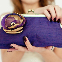 Bridesmaid Wedding Clutch Purse Purple Violet Aubergine Plum Antique Gold Floral UK Seller Made in England