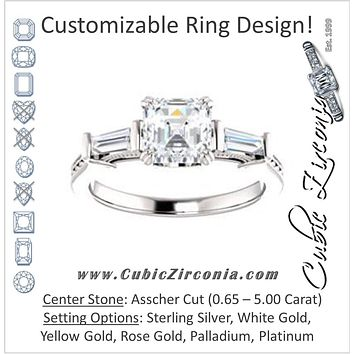 Cubic Zirconia Engagement Ring- The Kimiko (Customizable 3-stone Asscher Cut Design with Baguette Accents and Thin Wheat-Filigree Band)