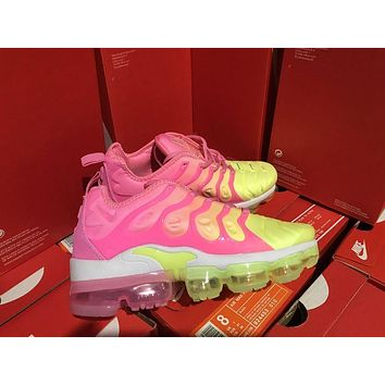 Women Nike 2018 TN Air Vapormax Plus Vascular Pink/Yellow Gradient Shoe 36-39