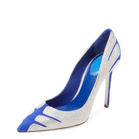 Rene Caovilla Women's Embellished Suede Pointed-Toe Pump - Blue -