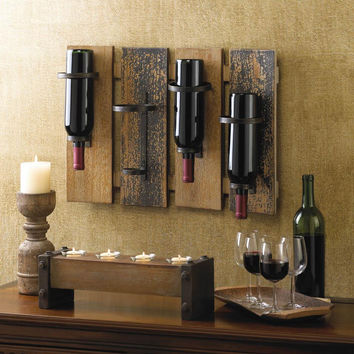 Wine Bottle Holder-Wall Mounted Rustic Iron Wood