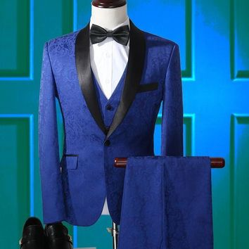 Best Selling Groomsmen Shawl Lapel Groom Tuxedos Flower Print Blazer Royal Blue Men Suits Wedding Prom Best Man Suit 3 Pieces