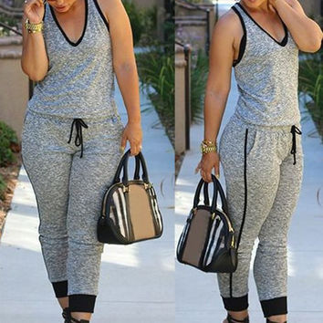 Gray V-Neck Sleeveless Drawstring Jumpsuit
