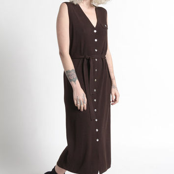 Vintage 90s Brown Merino Wool Sleeveless Knit Midi Dress | M