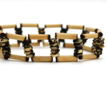 wood bracelet bone bracelet beaded stretch unisex by BeaKez
