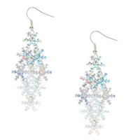 Claire's Girl's Holographic Snow Flake Earrings in Silver.