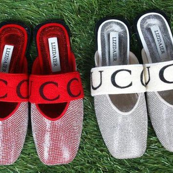GUCCI Fashion Women Personality Water Drill Full Diamond Flat Sandal Half Slipper Shoes I12238-1