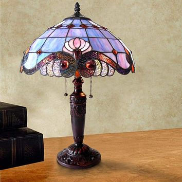 "SHELLY Tiffany-style 2 Light Victorian Table Lamp 14.5"" Shade"