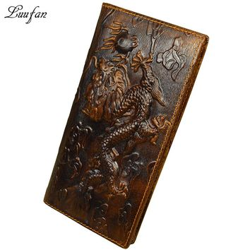 Men's vintage dragon genuine Leather Wallet cowhide long bifold Chain snap wallet with phone pocket fashion long purse