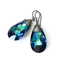 Bermuda Blue Earrings / Drop Earrings / Crystal Earrings / Women Fashion / Swarovski Crystal Jewelry / Wire Wrapped / Sterling Silver