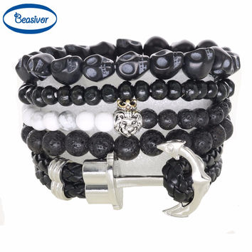Stone Beads Vintage Lion Charm Anchor Bracelets Men's Jewelry Fashion New Trendy Accessories Skull Lava Onyx Agate Holiday Gifts