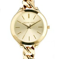 Michael Kors Slim Runway Gold Watch at asos.com