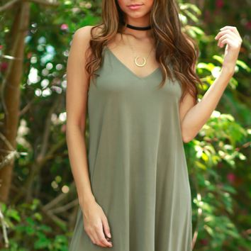 Hey Girl Basic Dress Olive