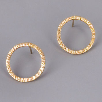 Gold Circle Studs - Sterling Silver Earrings With Gold Plating - Gold Holes Studs