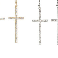 Rhinestone Crystal Dangle Cross Earrings