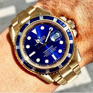 Rolex Watch Fashion Blue gold Women Men Contrast Classic Watch
