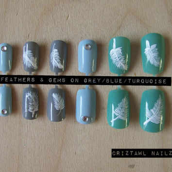 Feathers & Gems on Grey/Blue/Turquoise Nail Art by CriztawlNailz