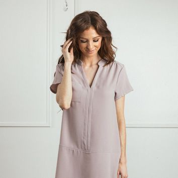 Loraine Grey-Lavender Shift Dress