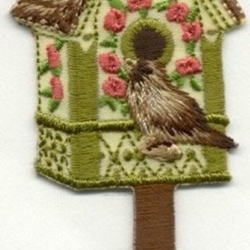 BirdHouse  Flowers Bird House Beautiful Details Iron or Sew On patch by Cedar Creek patch Shop on Etsy
