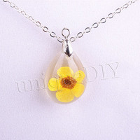 Yellow flower necklace, real flower necklace, marble jewelry, resin ball charm, pendant necklace, Yellow flower jewelry