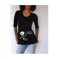 Maternity Cute Harry Potter Baby Skeleton Maternity Halloween Shirt- Black