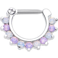 "14 Gauge 5/16"" Alluring Faux Opal and Light Purple Gem Septum Clicker"