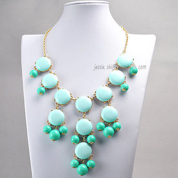 Turquoise and Green Bubble Bib Necklace, Contrast Color Bubble Necklace, 2013 Bubble Jewelry (Fn0508-M-Turquoise and Green)