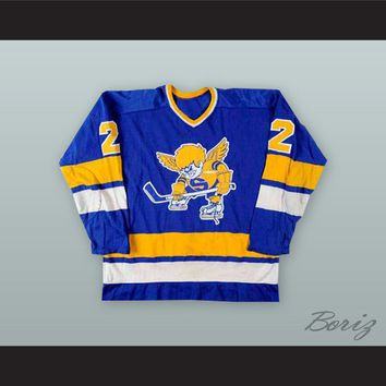 Bill Butters 2 Minnesota Fighting Saints Blue Hockey Jersey