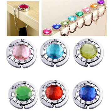 2017 Fashion Alloy Portable Foldable Folding Crystal Table Purse Bag Hook Hanger Holder Mirror Handbag Top Handbag 10 colors