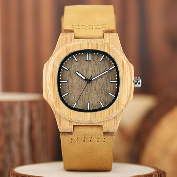 Mens Bamboo Wooden Wrist Watch Retro Color Genuine Leather Band Strap Quartz Wood Watches Nature Timber Bangle Clock in Gift Bag