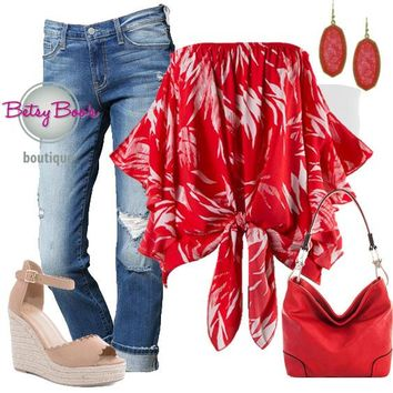 (pre-order) Set 524: Red Palm Print Off Shoulder Blouse (incl. top, bandeau & earrings)