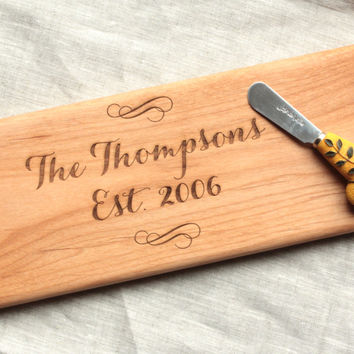 Personalized Wood Serving Board with Modern Handles - Custom Wooden Cheese Board